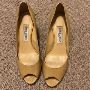 Jimmy Choo Peep Toe 1.5 Inch Nude Pumps